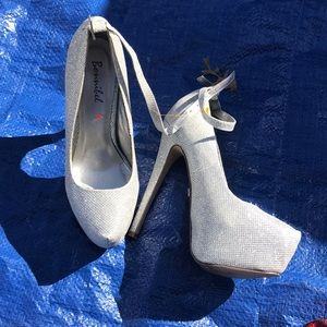 Ladies silver high heels